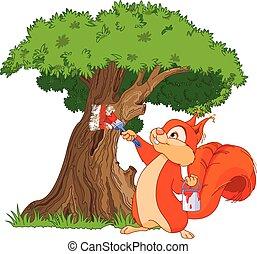 écureuil, peintre