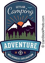 écusson, emblème, aventure, camping