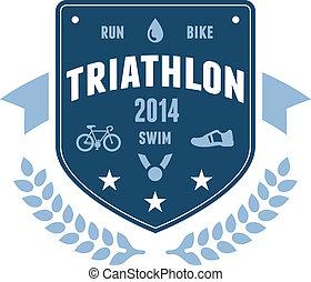 écusson, triathlon, emblème, conception
