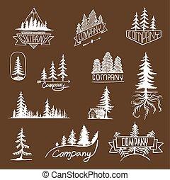 écusson, vecteur, collection, forêt arbre