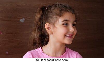 édenté, teeth., girl, rire, portrait, enfant, bébé, hard., smile., non, exposition