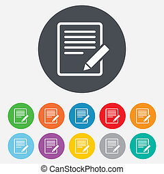 éditer, button., signe, contenu, icon., document