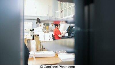édition, gens, travail foyer, couler, impression