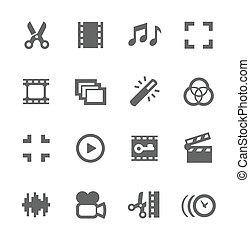 édition, vidéo, icônes