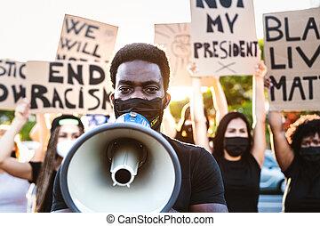 égalité, activiste, course, mouvement, égal, démonstrateurs, rue, contre, -, justice, droits, protester, protestation, noir, racisme, cultures, combat, vies, matière, différent