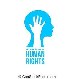 égalité, droits, gens, humain, international, carte