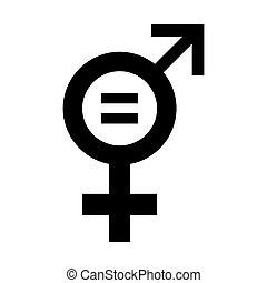 égalité, illustration., icône, vecteur, genre