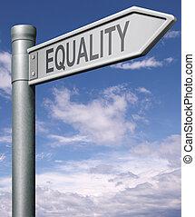 égalité, panneaux signalisations