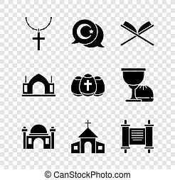 église, décret, parchemin, étoile, spirituel, oeuf, vecteur, croix, paques, ensemble, croissant, livre, coran, chaîne, bâtiment, mosquée, hindou, rouleau, saint, temple, icon., papier, chrétien, musulman