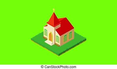 église, protestant, icône, animation