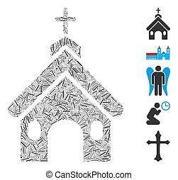 église, trappe, mosaïque