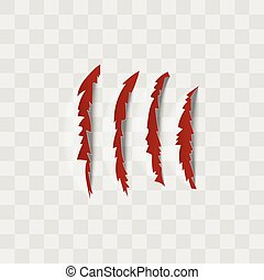 égratignure, griffe, rouges, isolé, transparent, marques, arrière-plan.