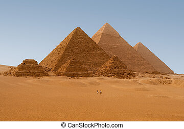 égyptien, giza, egypte, pyramides, vue, six, panaromic