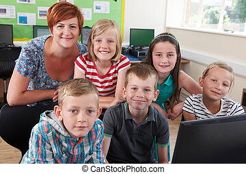 élèves, prof, informatique, élémentaire, portrait, classe