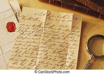 élégant, écriture, lettre, vieux