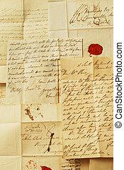 élégant, écriture, vieux, lettres