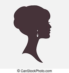 élégant, coiffure, femme, silhouette, figure