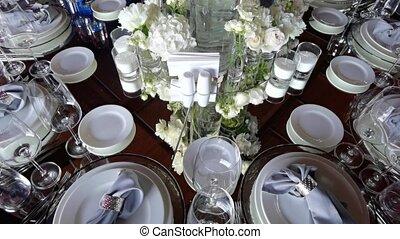 élégant, coloré, setting., table, dîner