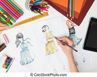 élégant, créations, mode