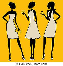 élégant, fête, femmes