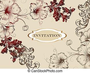 élégant, main, dessiné, carte, invitation