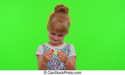 élégant, simple, squishy, coloré, jouer, pop, il, enfant, fossette, sensoriel, bulles, silicone, girl, jouet, jeu