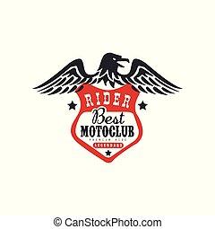 élément, conception, blanc, logo, moteur, impression, vecteur, cavalier, fond, illustration, motocyclette, mieux, réparation, club, motoclub, cavalcade, ou, motard, prime, magasin habillement