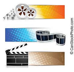 élément, ensemble, bannières, cinéma