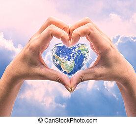 élément, forme, image, humain, sur, mondiale, santé, coeur, background:, naturel, ceci, jour, femmes, meublé, nasa, mains, brouillé