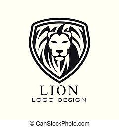 élément, lion, blanc, impression, vecteur, classique, fond, illustration, t, conception, logo, tatouage, bannière, écusson, embem, vendange, style, affiche, chemise