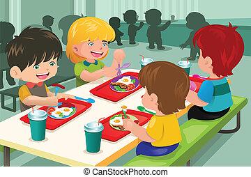 élémentaire, cafétéria, manger, étudiants, déjeuner