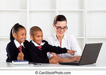élémentaire, classe ordinateur