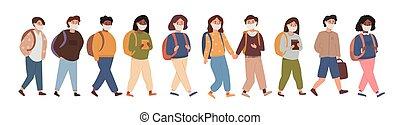 élémentaire, visage blanc, ensemble, pandemia., gosses, porter, dos, marche, élèves, enfants, isolé, milieu, étudiants, école, aller, groupe, collection, après, mask., illustration