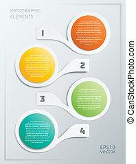 éléments, étapes, coloré, infographics