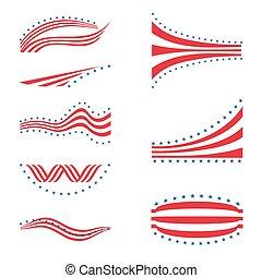éléments, étoile, usa, raies, drapeau, conception, logo