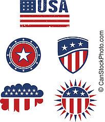 éléments, étoile, usa, vecto, drapeau, conception