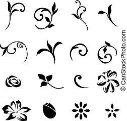 éléments, 01, floral, mettez stylique