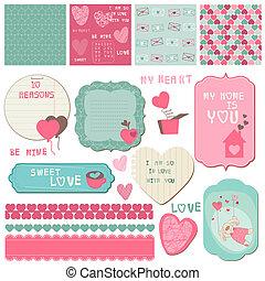 éléments, amour, -, invitation, vecteur, conception, salutations, album, ensemble, cartes