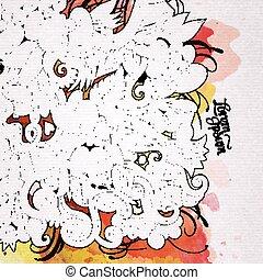 éléments, art, aquarelle, arrière-plan., doodles, paques