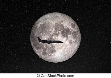 éléments, avion, privé, voler, contre, space., entiers, sombre, image, meublé, jet, silhouette, énorme, fond, lune, étoilé, ceci, nasa