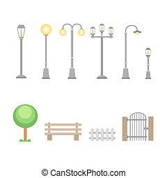 éléments, barrière, construction, rue, landscapes., lumières, ensemble, extérieur, lampes, banc, urbain, guichet, village