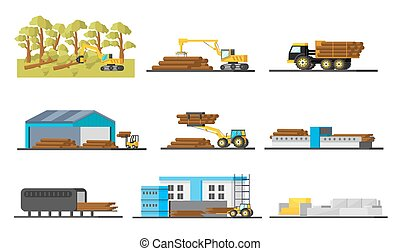éléments, bois, production, collection