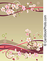 éléments, branches, printemps, cadre, cœurs, résumé