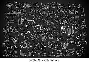 éléments, business, ensemble, vecteur, infographics, croquis, doodles, shapes., :, isolé
