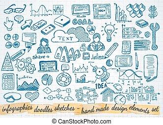 éléments, business, isolé, ensemble, infographics, croquis, doodles, :