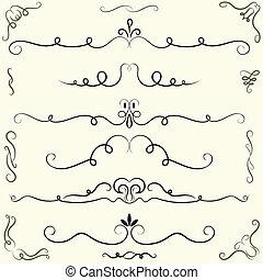 éléments, calligraphic, page, mettez stylique, décoration
