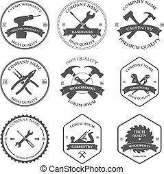 éléments, charpenterie, conception, tools., étiquettes