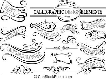 éléments, collection, calligraphic