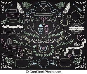 éléments, coloré, griffonnage, craie, vecteur, conception, dessin