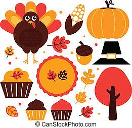 éléments, coloré, thanksgiving, isolé, conception, blanc